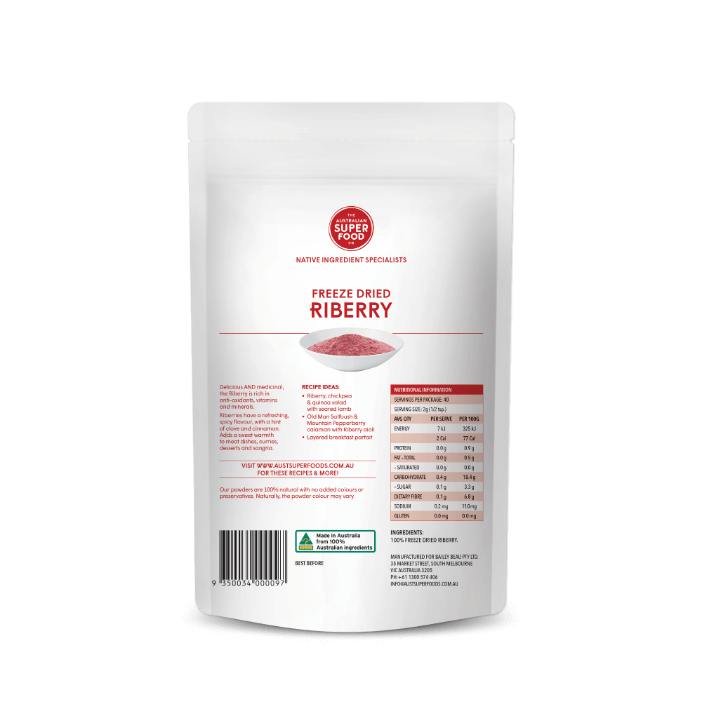 Freeze Dried Riberry Powder 80g Back