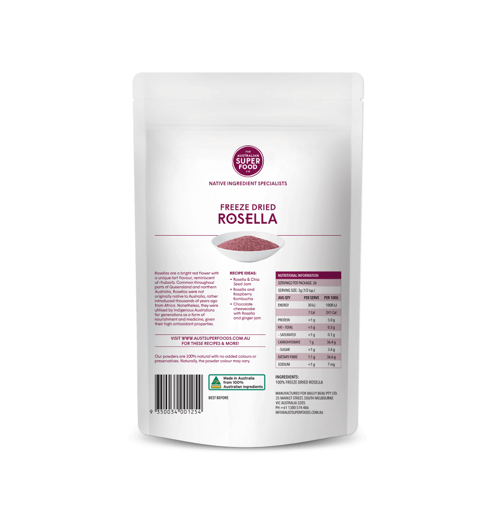 Freeze Dried Rosella Powder 80g Back
